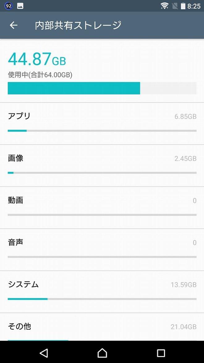 Android7.1.1になってもシステム容量は変化なし
