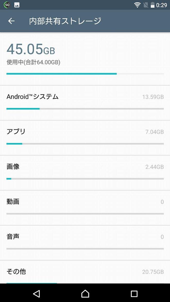 アップデート前のシステム容量は13.59GB