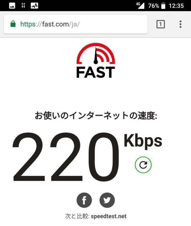 fast.comで計測したnuroモバイルの速度