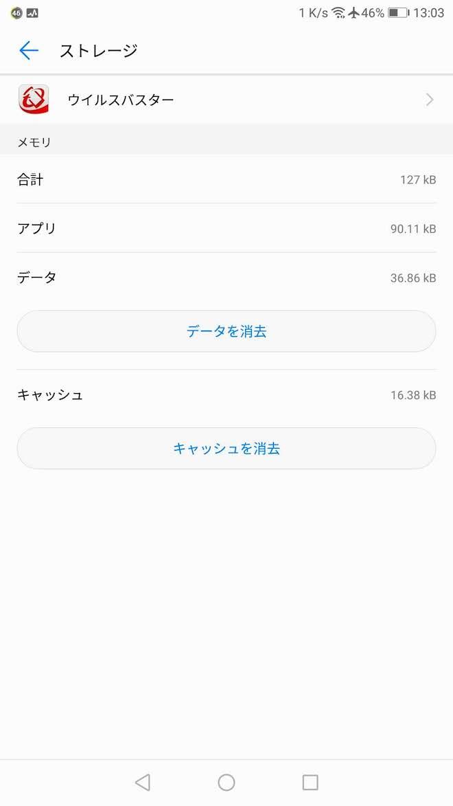 追加されたウィルスバスターアプリのストレージ使用量
