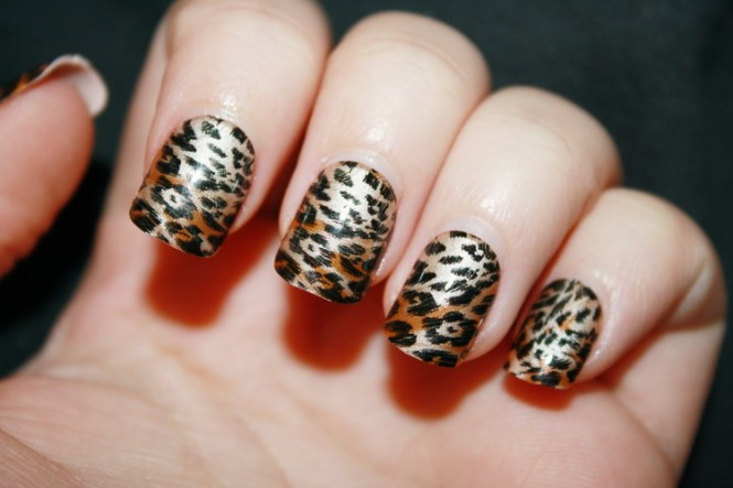 Glitter Nails With Brown Leopard Print Nail Art Design