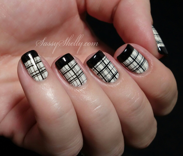 Baby Pink Nails With Black French Tip And 3d Bow Design Idea