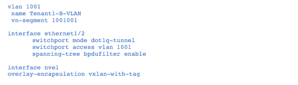 Figure-3 Q-in-VNI sample configuration with vlan 1001 as the dot1q-tunnel vlan