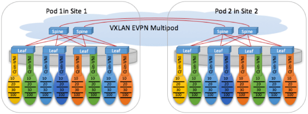 Figure 4: Q-inVNI with VXLAN EVPN Multipod geographically dispersed