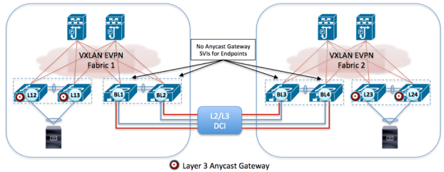 Figure 10: No Distributed Anycast Gateway Functionality for Endpoints on Border Nodes