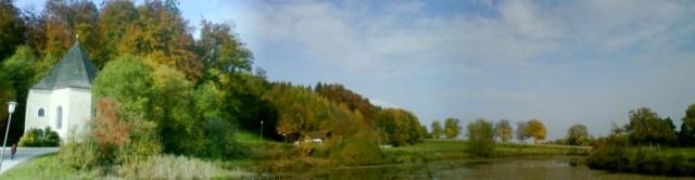 Das Panorama über dem Teich