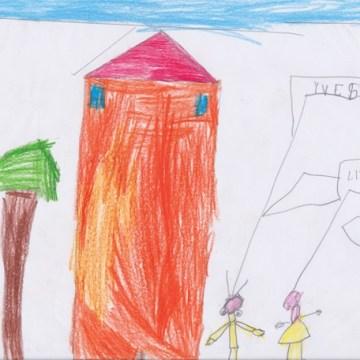 Yves ha disegnato la sua famiglia e la sua casa