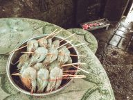 The shrimp skewers are ready to be grilled