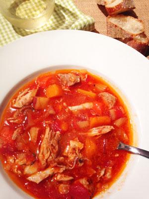 Chicken Vegetable Stew in bowl photoshop