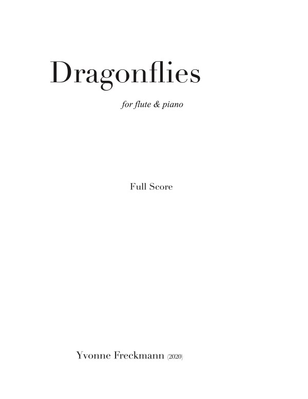 Dragonflies score cover page