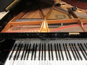 Moving Disklavier keys and small JBL clip speakers inside the piano