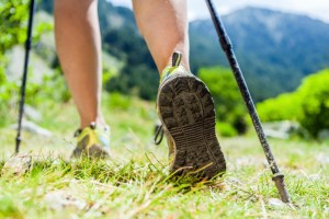 Nordic walking hiking sport shoes in mountains