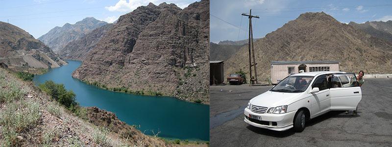 met de auto van Osh naar Bishkek