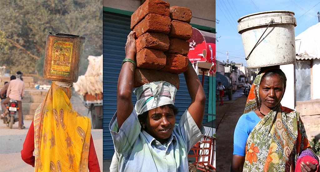 Indiase vrouwen dragen vanalles op hun hoofd