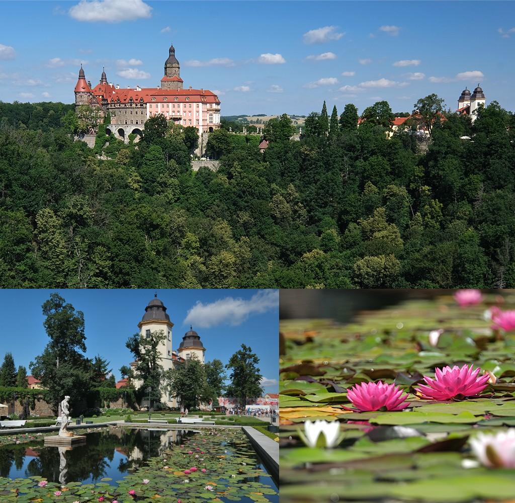 Ksiaz kasteel slot Fürstenstein uitzicht en toegangspoort