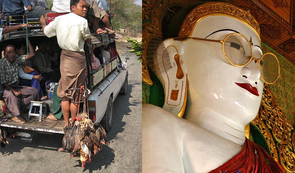 Myanmar Shwedaung Boeddha met bril
