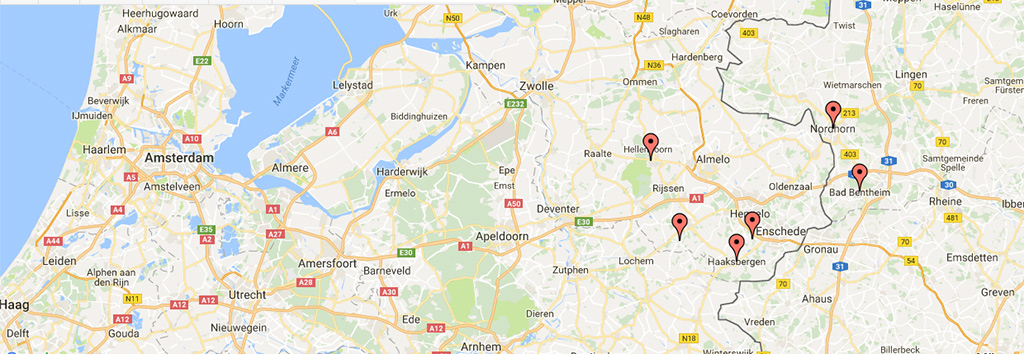 kaart Oost-Nederland