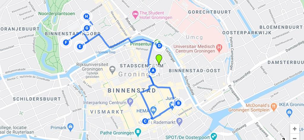 kaart mooiste hofjes Groningen