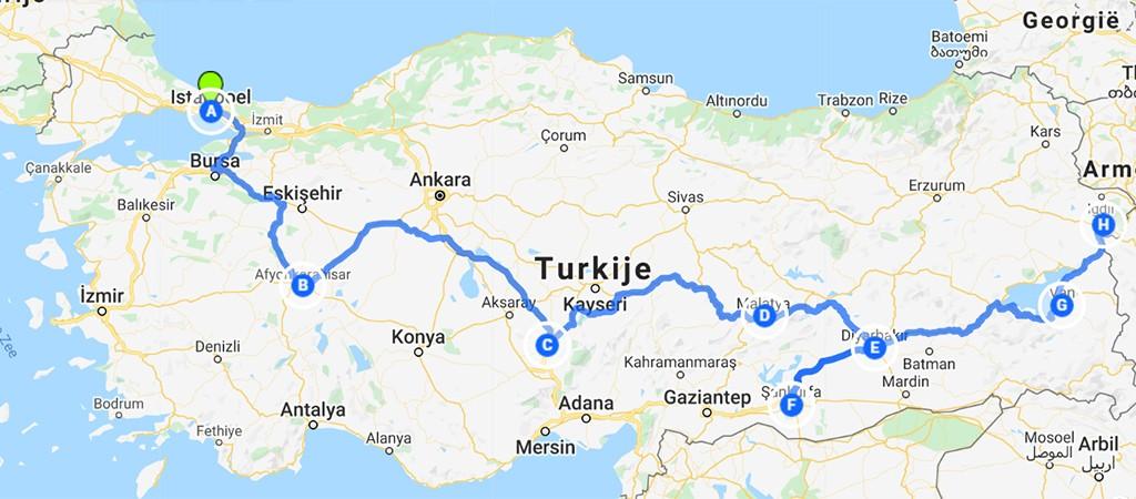 kaart route door Turkije