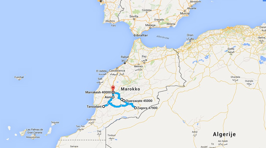kaart Roadtrip Zuid Marokko
