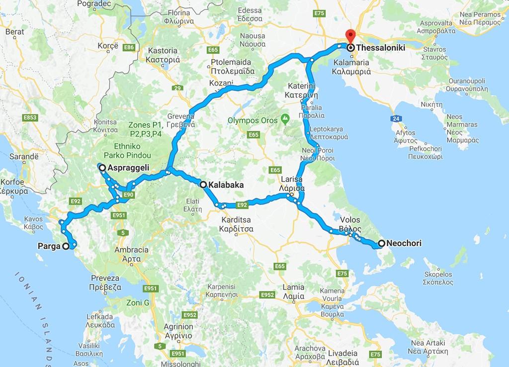 mooiste route roadtrip Noord-Griekenland kaart