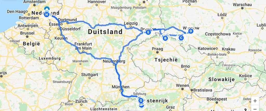roadtrip door Centraal Europa op de kaart