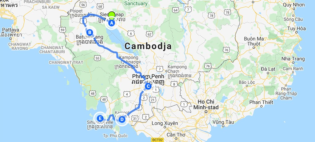 rondreis Cambodja route kaart