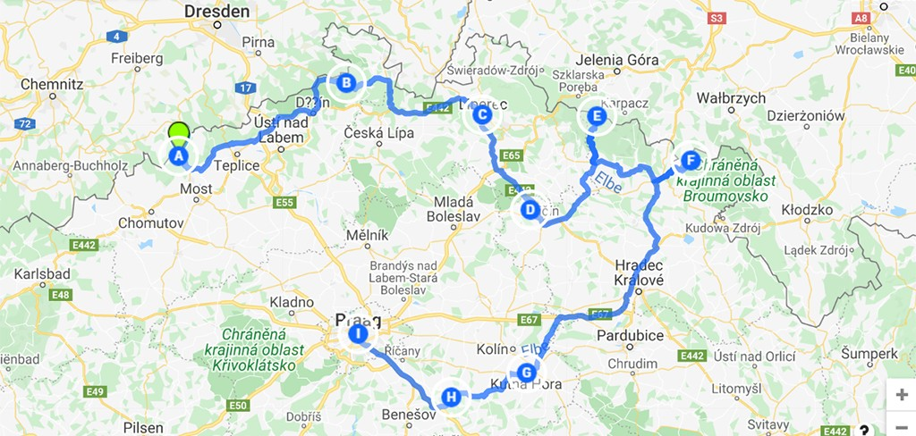 route Tsjechië rondreis kaart