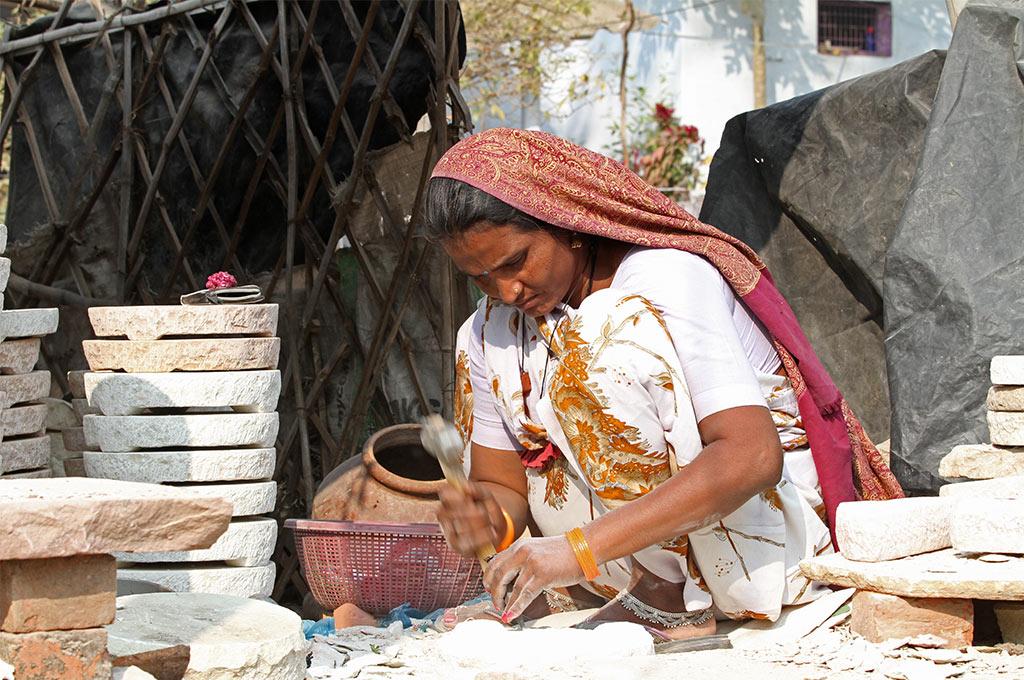 Steenbewerkster in India