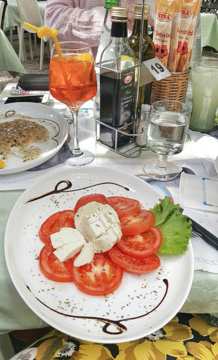 Living and traveling with cancer. Mozzarella and tomatoes.