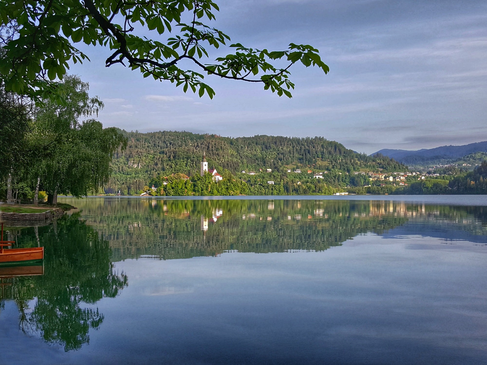 Lake Bleke Slovenia, reflection of the island.