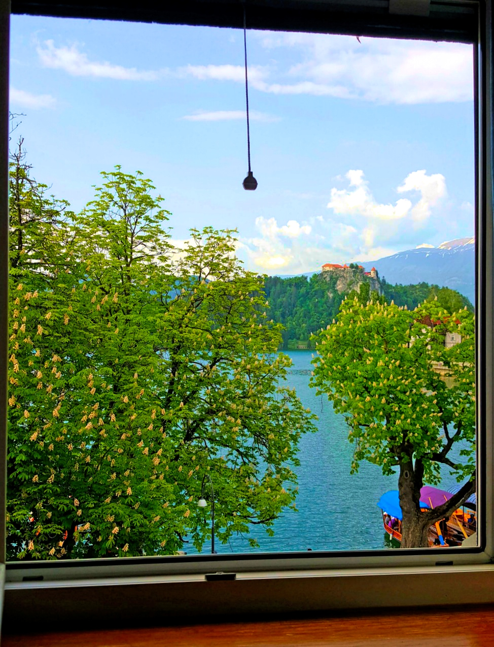 Window view from Guest House Mlino at Lake Bled.