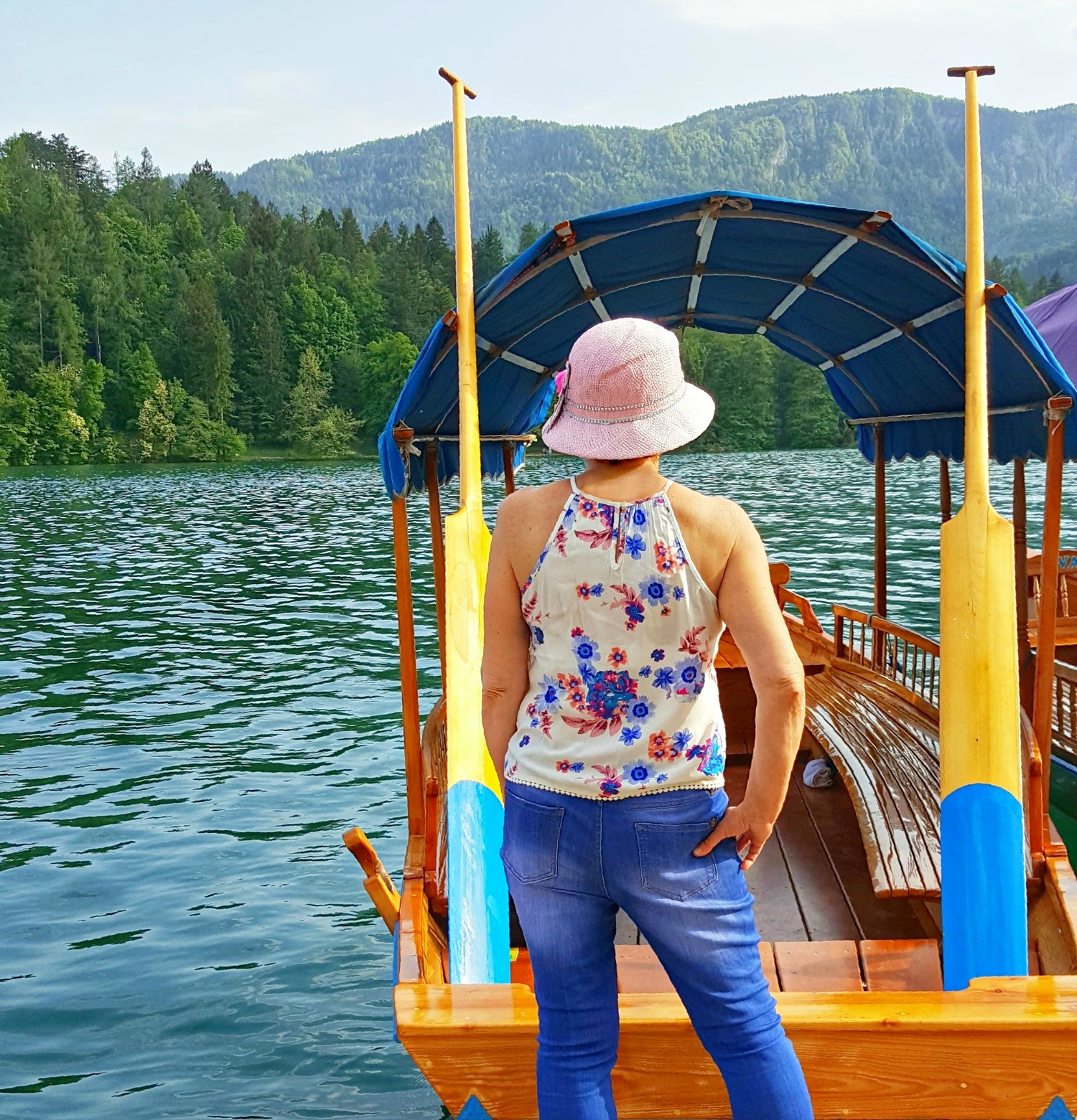 Lady looking at Lake Bled Slovenia.