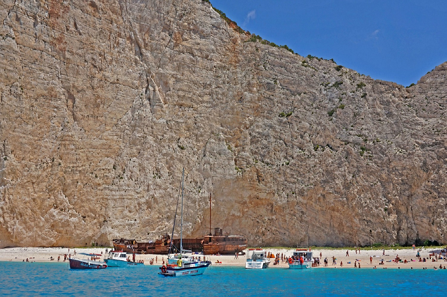 Zakynthos Greece - hot to visit. Famous Shipwreck Beach from the water.