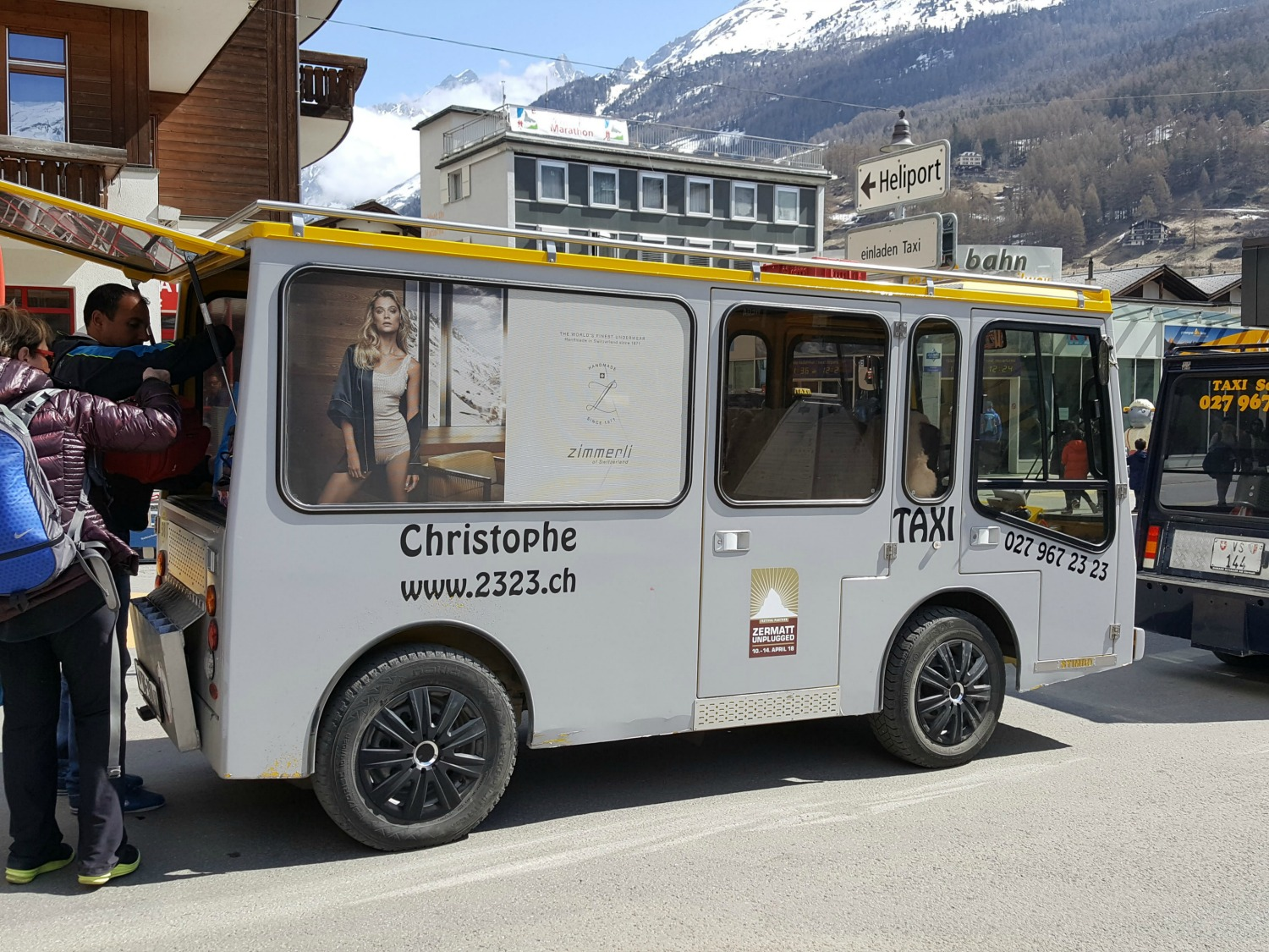 Zermatt Switzerland - an electric taxi is the main mean of transportation.