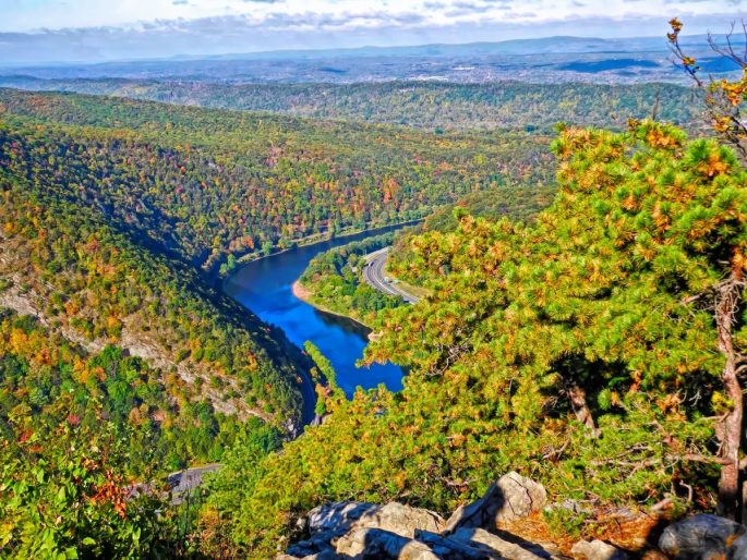 Fall overlook at Mount Tammany New Jersey.
