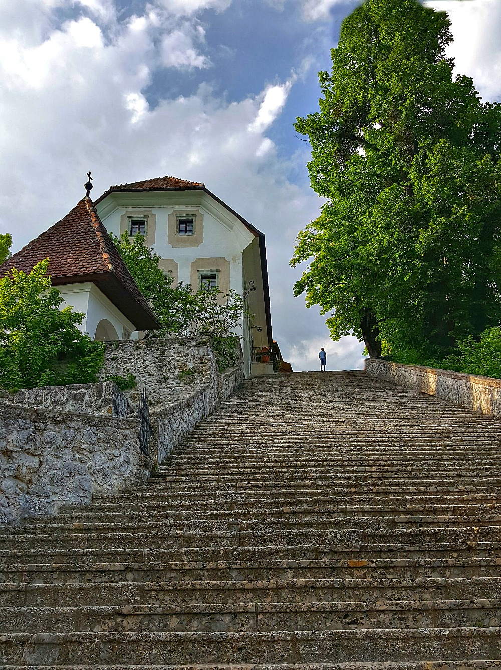 Stairs to the church on the Lake Bled island.