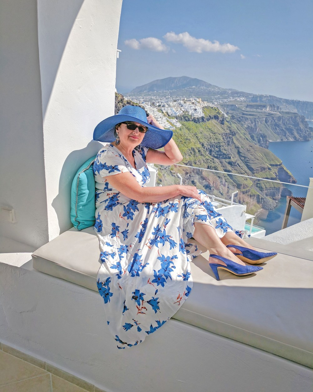 Lady and the view in Santorini.