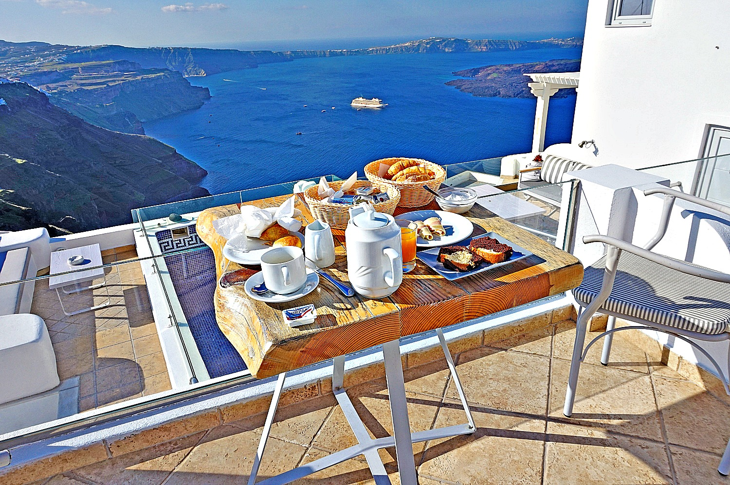 Tasty breakfast with a view at Nefeli homes Santorini.
