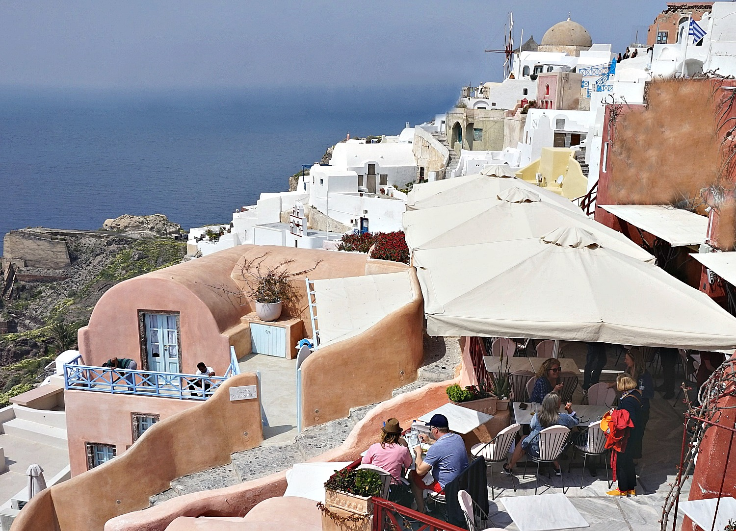An outdoor dining in Oia Santorini.