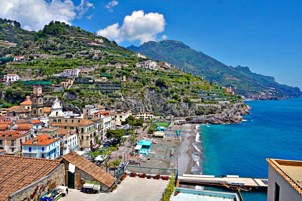 Minori beach as seen from a hiking trail from Ravello.