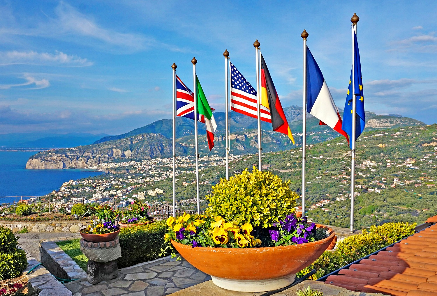 Views of Sorrento in the Amalfi Coast with flags.