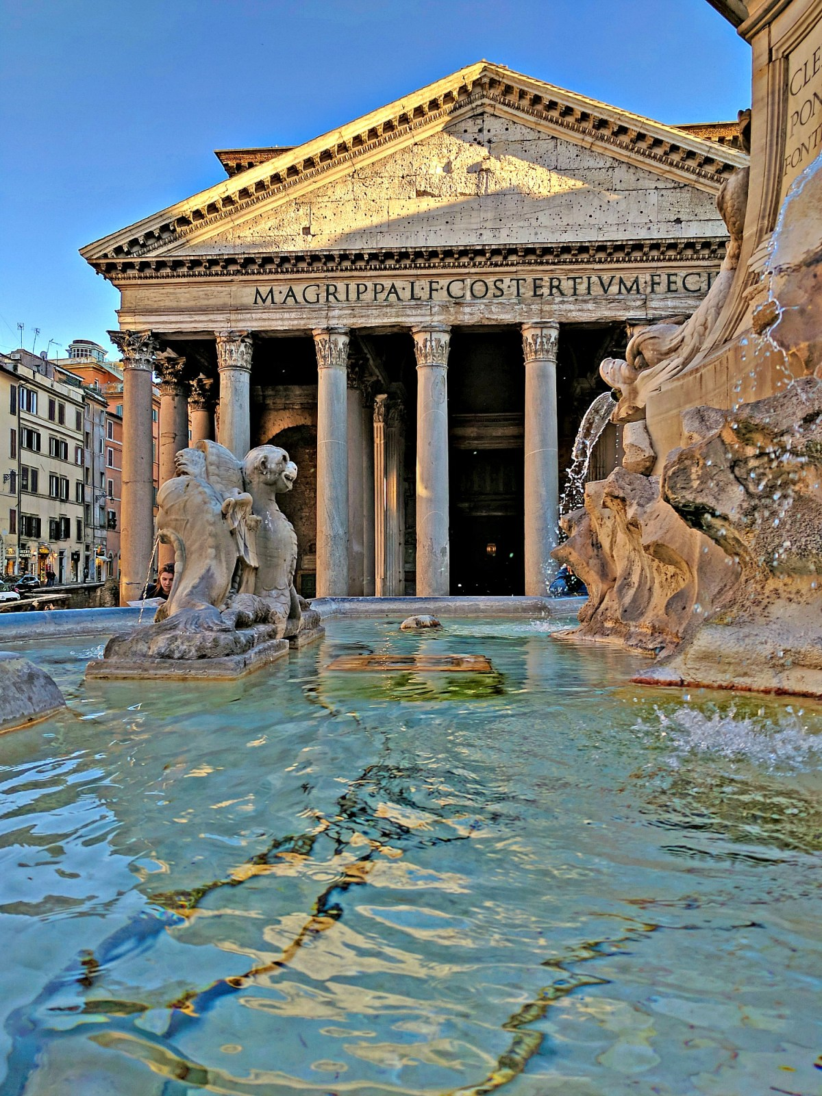 The Pantheon in Rome as seen from the fountain.
