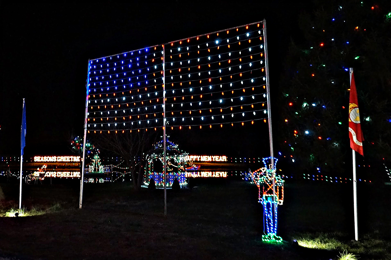 American flag at Koziar's Christmas Village.