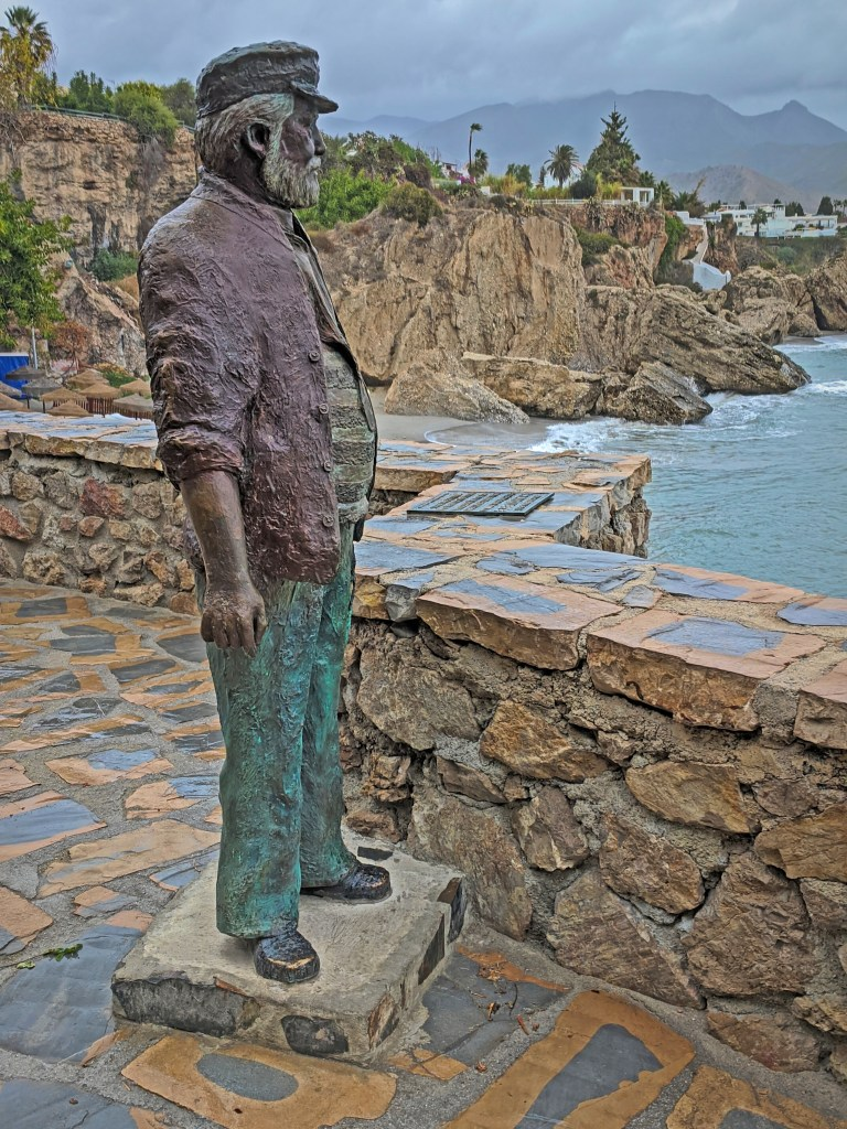 Holidays to Costa del Sol. Statue at Balcony of Europe.