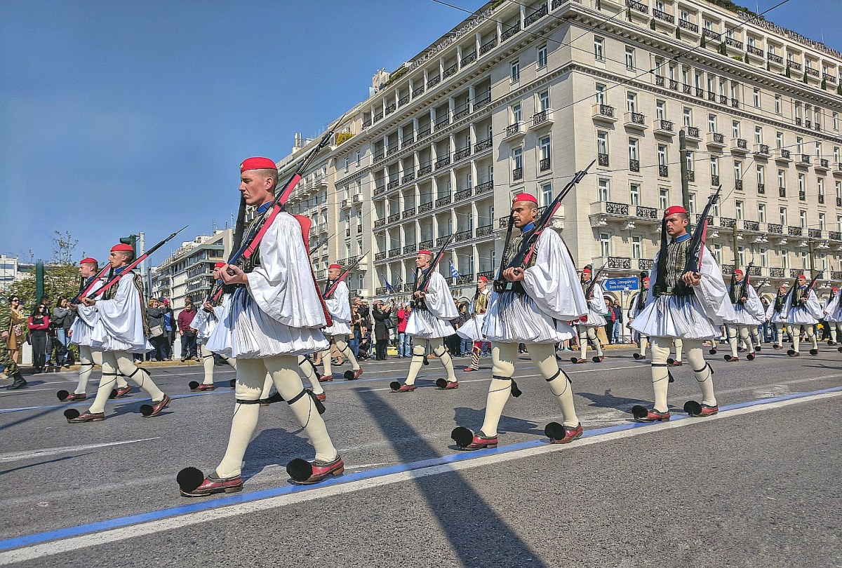 The Evzones, special unit of the Hellenic Army, provide a 24-hour honor guard with an hourly sentry change.