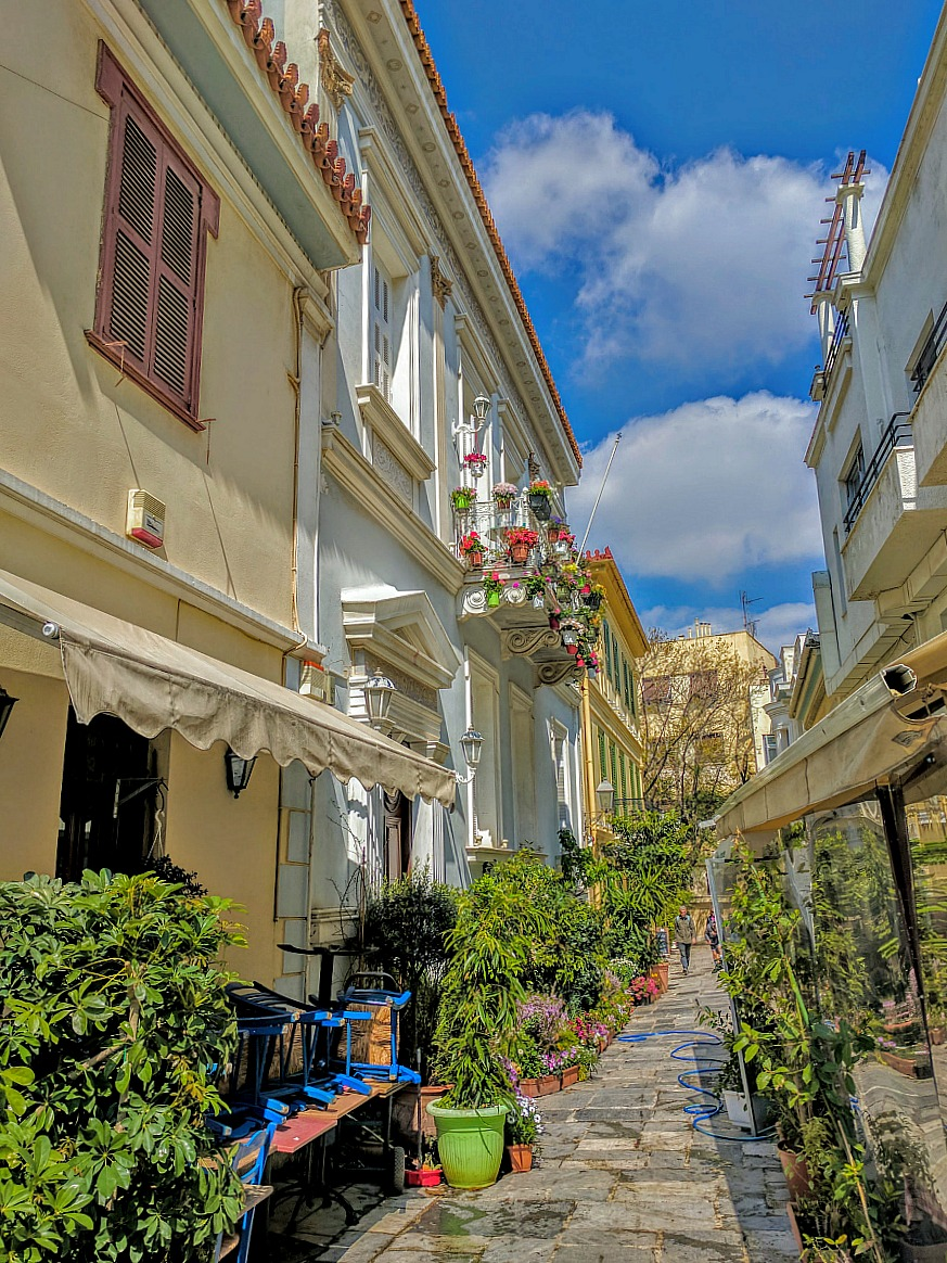 Charming Plaka district in Athens.