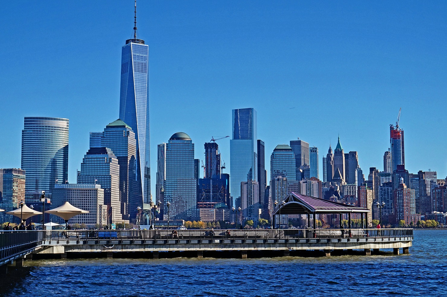 Well developed Jersey City waterfront offers many beautiful areas to relax with the view of New York City.