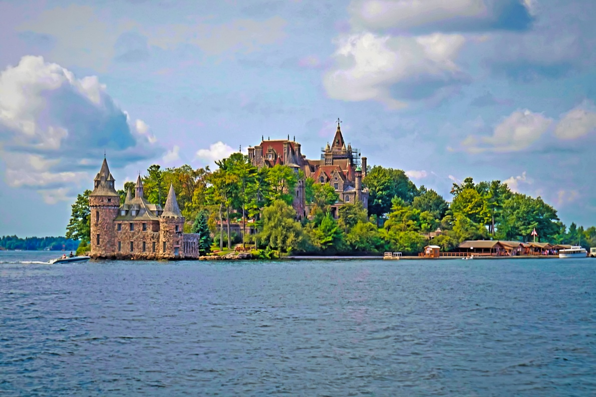 Situated on an island, Boldt Castle is 1000 Island's major attraction.