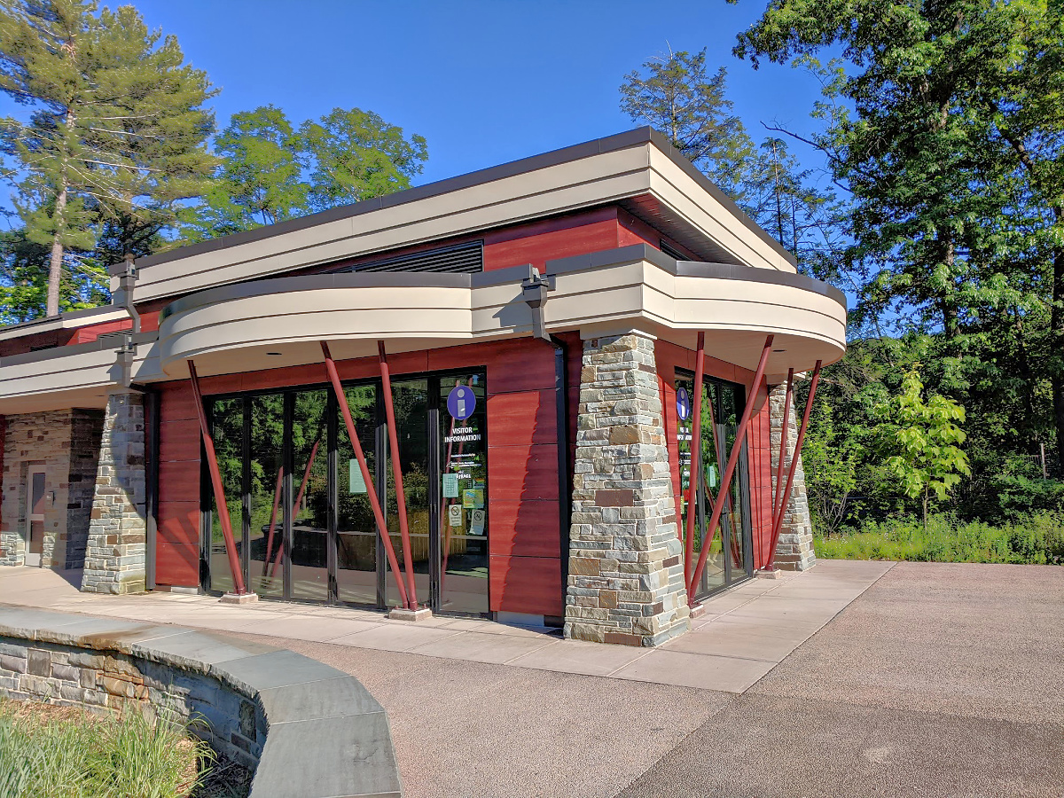 Brand new visitors center at Tauhgannock State Park.